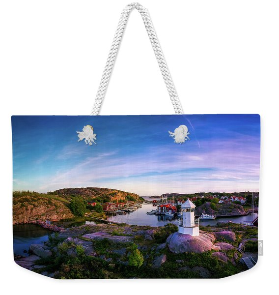 Sunset Over Old Fishing Port - Aerial Photography Weekender Tote Bag