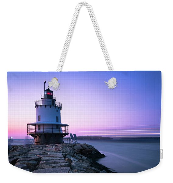 Sunset Over Spring Breakwater Lighthouse In South Maine Weekender Tote Bag