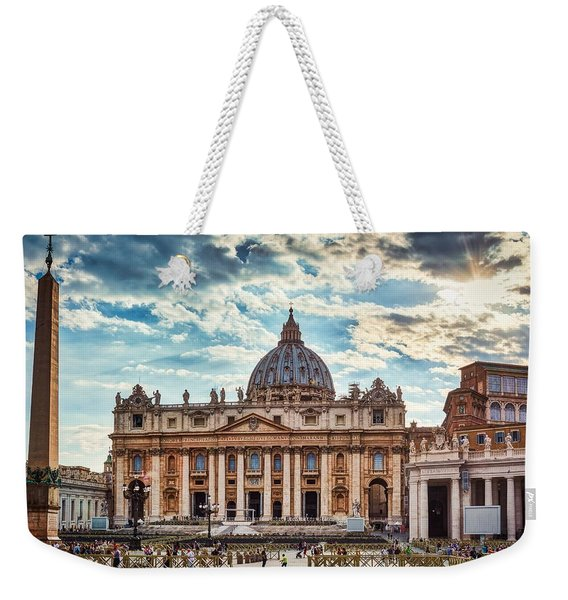 Sunset Over The Papal Basilica Of Saint Peter Weekender Tote Bag