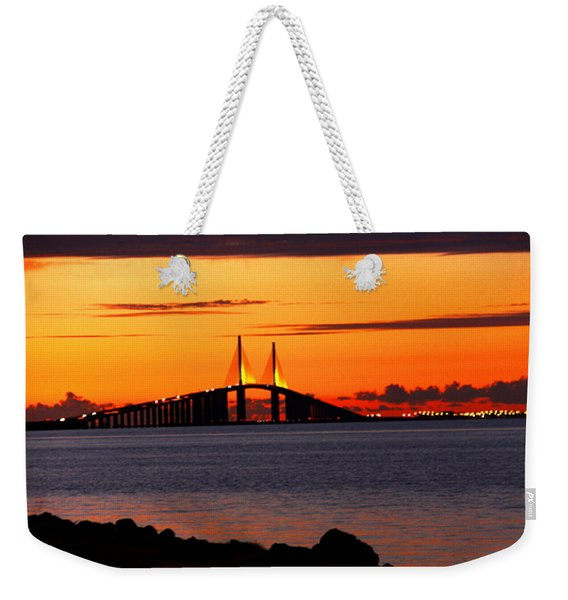Sunset Over The Skyway Bridge Weekender Tote Bag