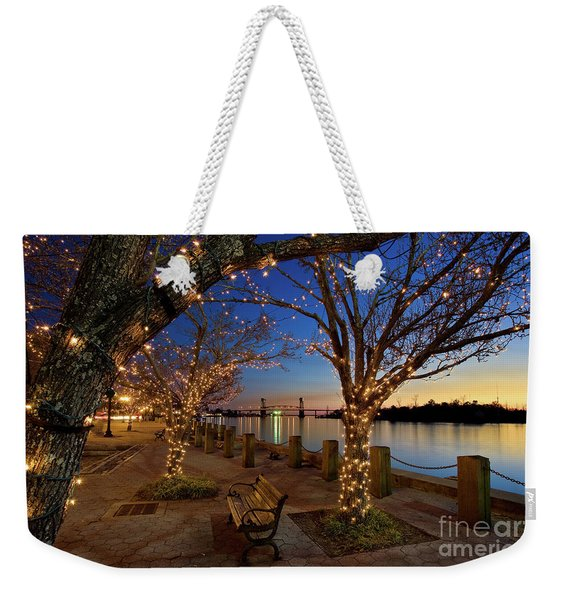 Weekender Tote Bag featuring the photograph Sunset Over The Wilmington Waterfront In North Carolina, Usa by Sam Antonio Photography