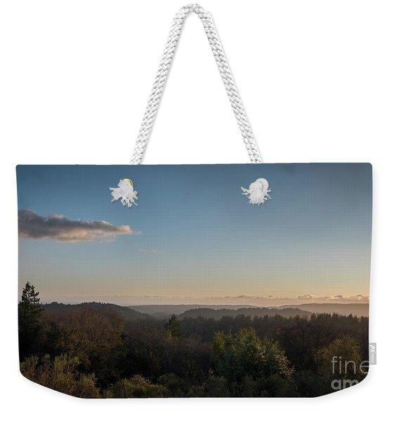Sunset Over Top Of Dense Forest Weekender Tote Bag