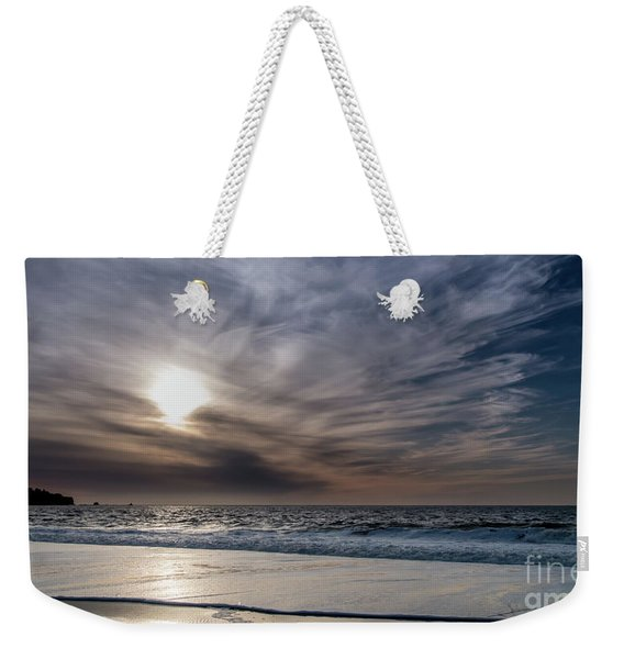 Sunset Over West Coast Beach With Silk Clouds In The Sky Weekender Tote Bag