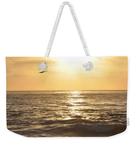 Sunset Pelican Silhouette Weekender Tote Bag