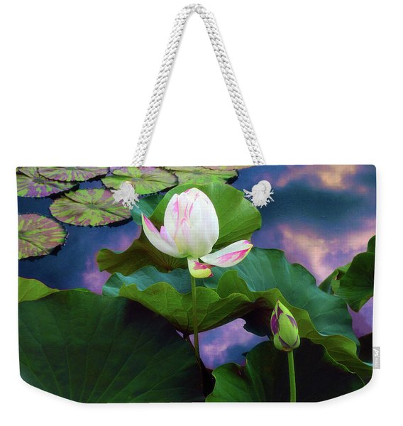 Sunset Pond Lotus Weekender Tote Bag