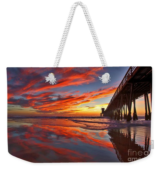 Weekender Tote Bag featuring the photograph Sunset Reflections At The Imperial Beach Pier by Sam Antonio Photography