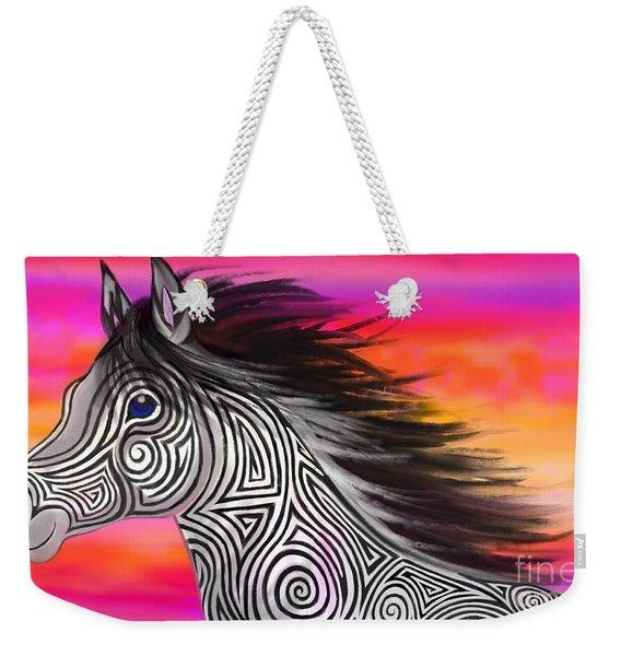 Sunset Ride Tribal Horse Weekender Tote Bag