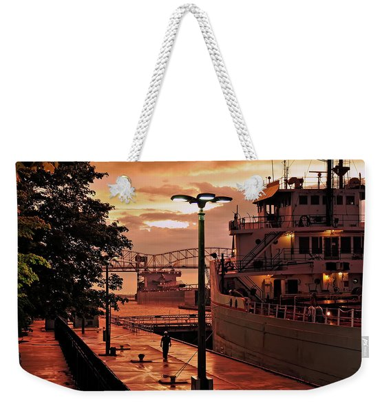 Sunset Sault Locks Weekender Tote Bag