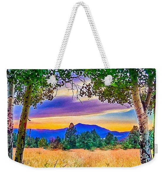 Sunset Through The Birch Trees Weekender Tote Bag