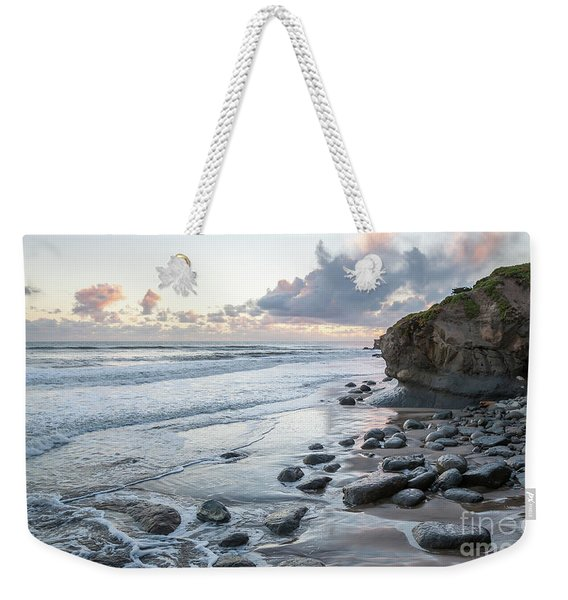 Sunset View In The Distance With Large Rocks On The Beach Weekender Tote Bag