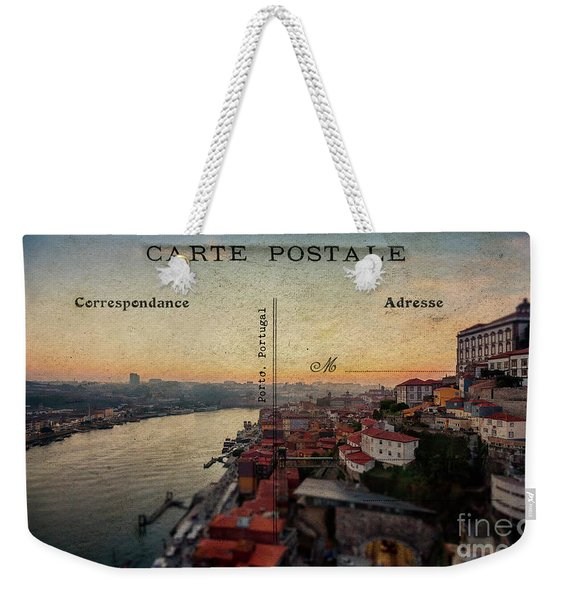sunset view of the Douro river and old part of  Porto, Portugal Weekender Tote Bag