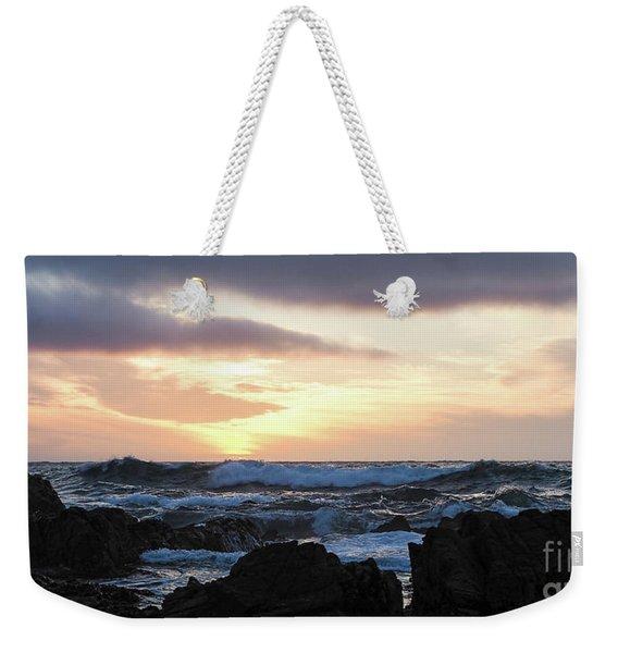 Weekender Tote Bag featuring the photograph Sunset Waves, Asilomar Beach, Pacific Grove, California #30431 by John Bald