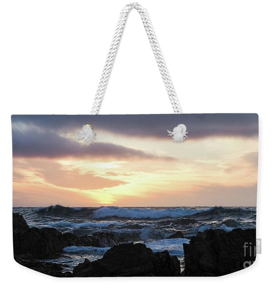 Sunset Waves, Asilomar Beach, Pacific Grove, California #30431 Weekender Tote Bag