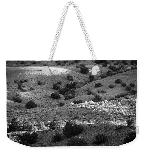 Sunshine On The High Mountain Desert Of New Mexico In Black And White Weekender Tote Bag