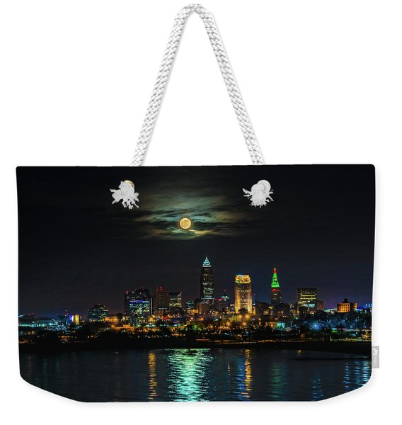 Super Full Moon Over Cleveland Weekender Tote Bag