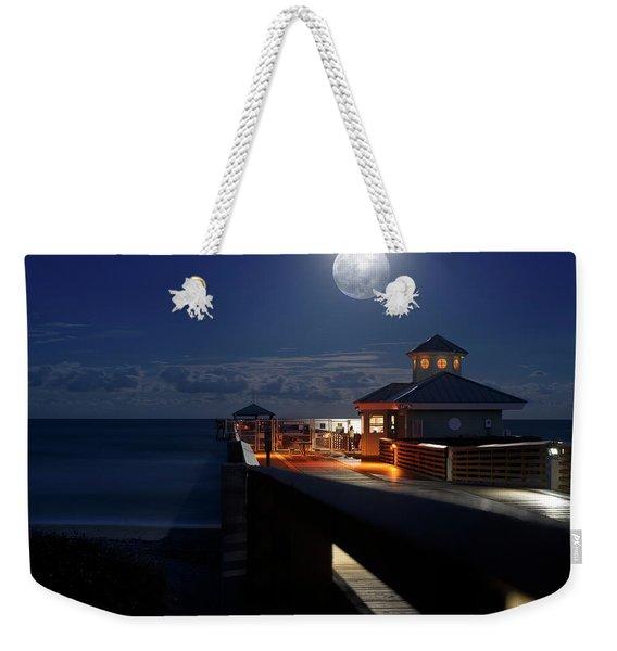 Super Moon At Juno Pier Weekender Tote Bag