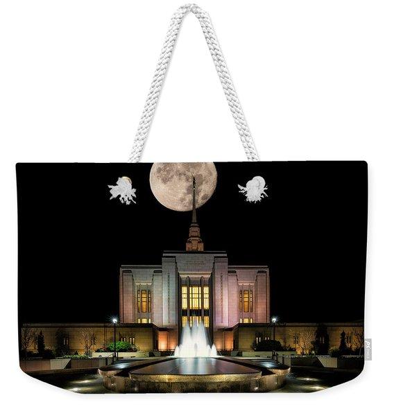 Super Moon At Ogden Lds Temple Weekender Tote Bag