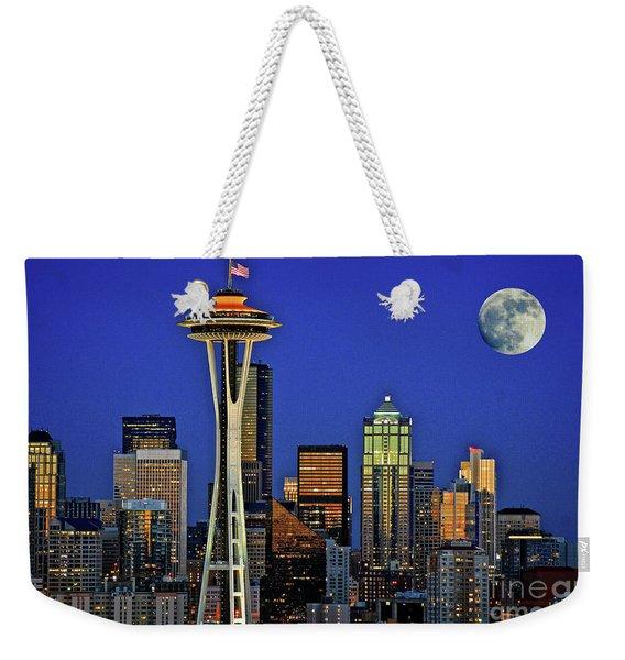 Super Moon Over Seattle Weekender Tote Bag