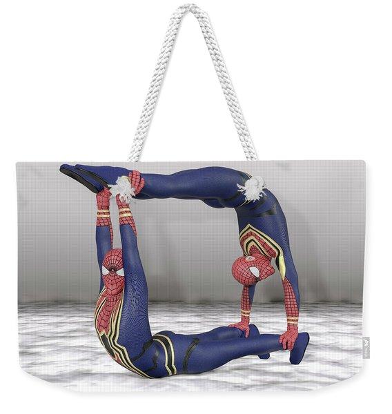 Superhero Acroyoga Pose Two Weekender Tote Bag