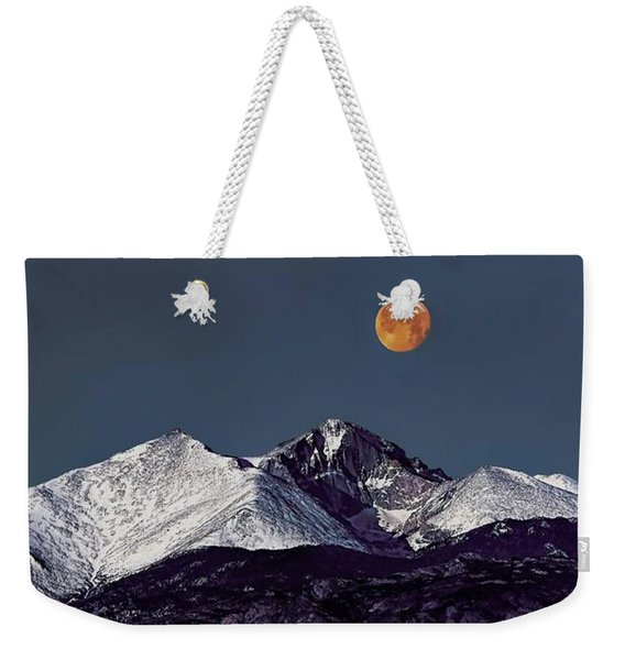 Supermoon Lunar Eclipse Over Longs Peak Weekender Tote Bag