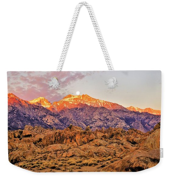 Supermoon Setting At Sunrise Over Mount Williamson In The Sierra Nevada Mountains Weekender Tote Bag
