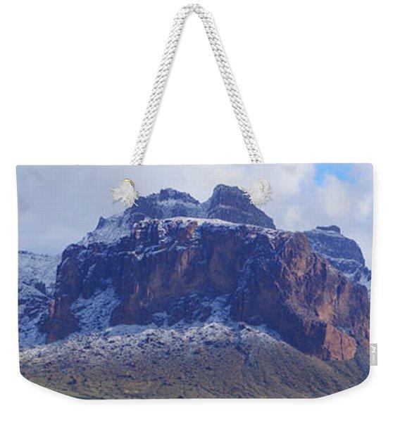 Superstition Mountain Snowfall Weekender Tote Bag