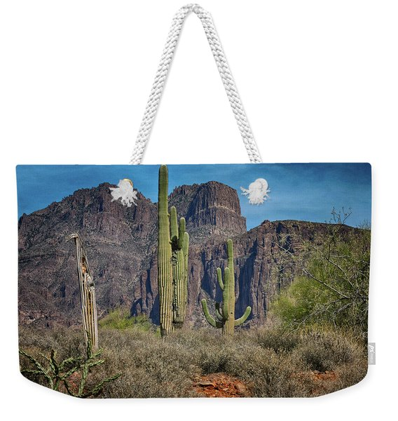 Superstition Mountain With Cactus Weekender Tote Bag