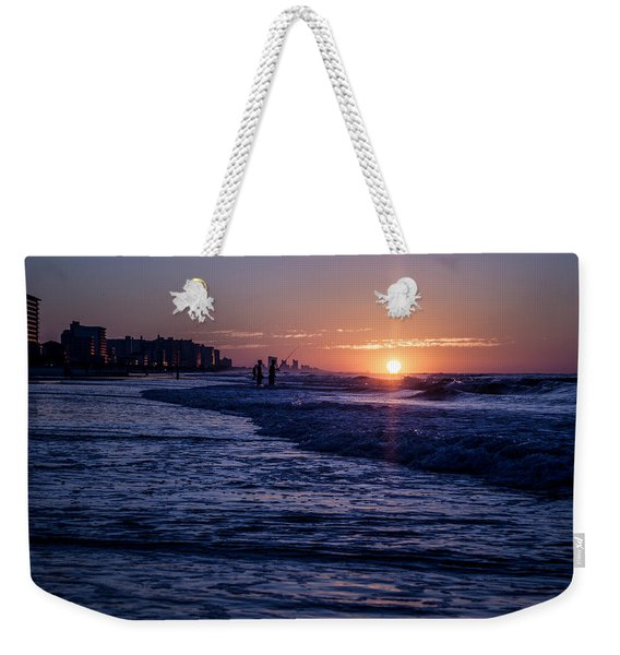 Surf Fishing At Sunrise Weekender Tote Bag