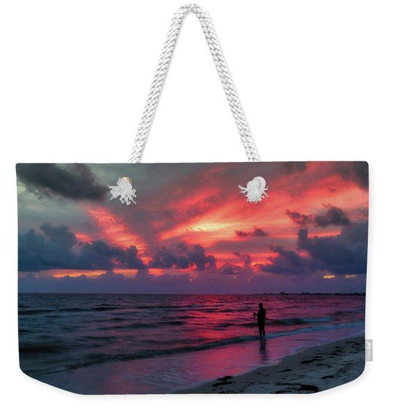 Surf Fishing At Sunset Weekender Tote Bag
