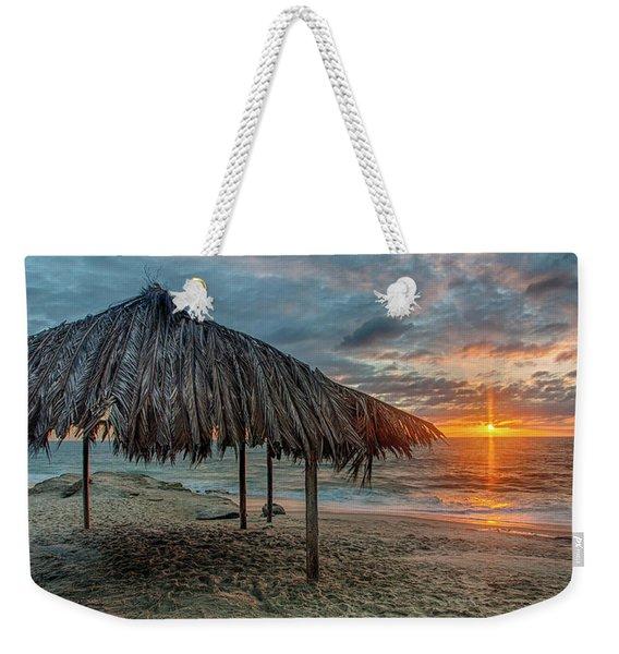 Surf Shack At Sunset - Wide Format Weekender Tote Bag