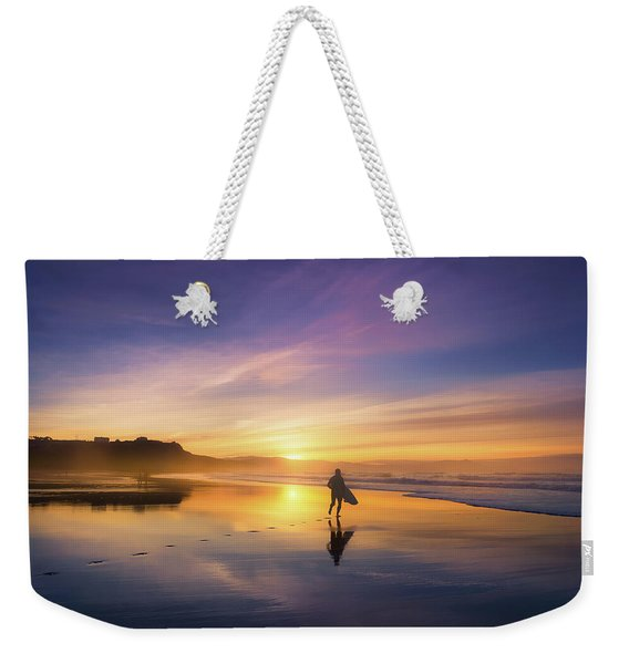 Surfer In Beach At Sunset Weekender Tote Bag