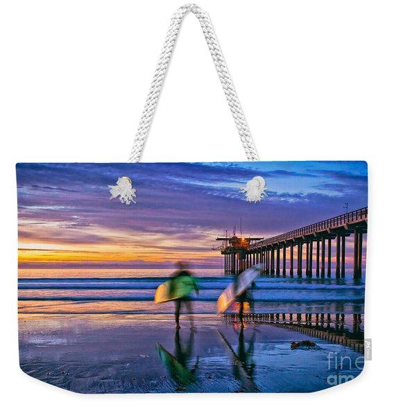 Surfers At Scripps Pier In La Jolla California Weekender Tote Bag