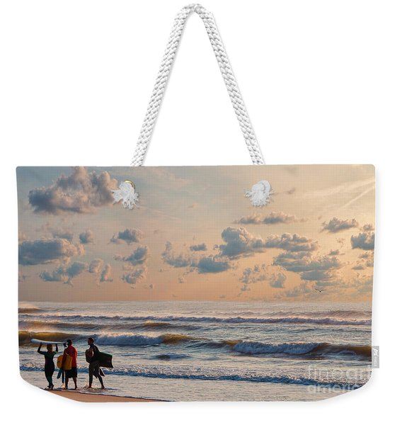 Surfing At Sunrise On The Jersey Shore Weekender Tote Bag