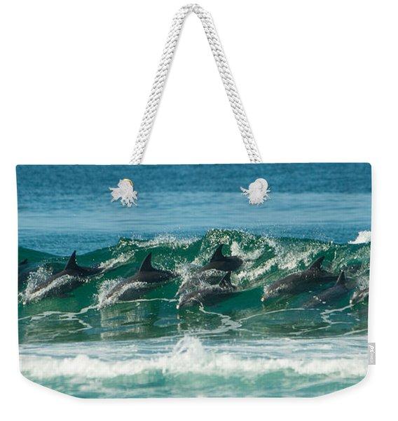 Surfing Dolphins 4 Weekender Tote Bag
