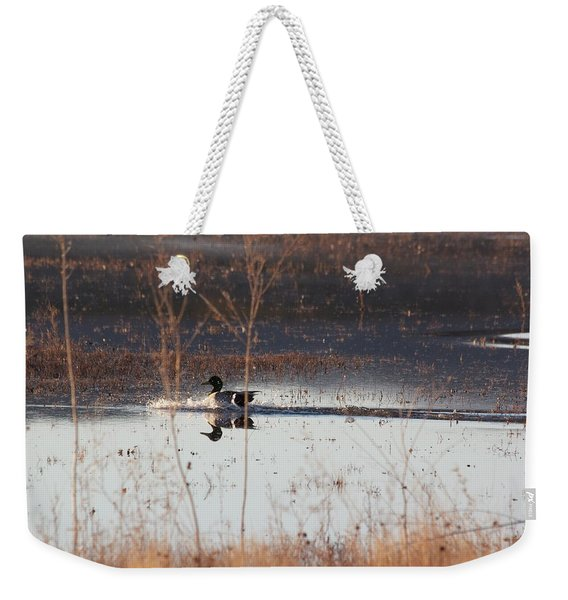 Weekender Tote Bag featuring the pyrography Surfs Up by Michael Lucarelli