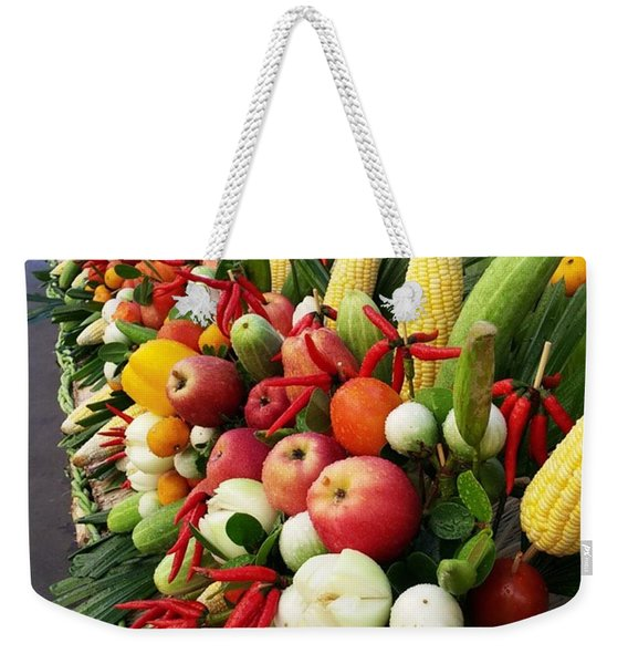 Weekender Tote Bag featuring the photograph Surin Elephant Buffet by Mr Photojimsf