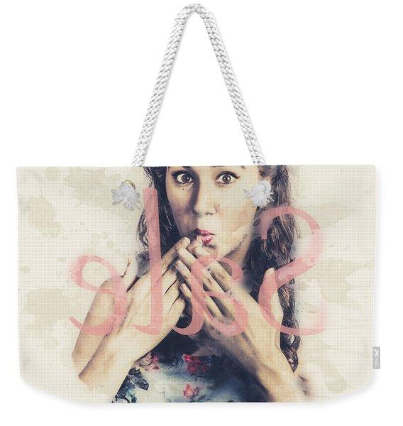 Surprised Pin Up Window Shopper At Store Sale Weekender Tote Bag