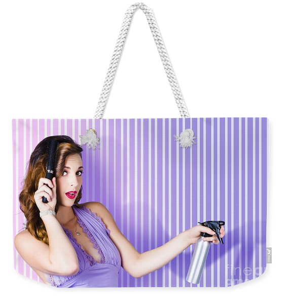 Surprised Pinup Woman With Beauty Salon Hair Style Weekender Tote Bag