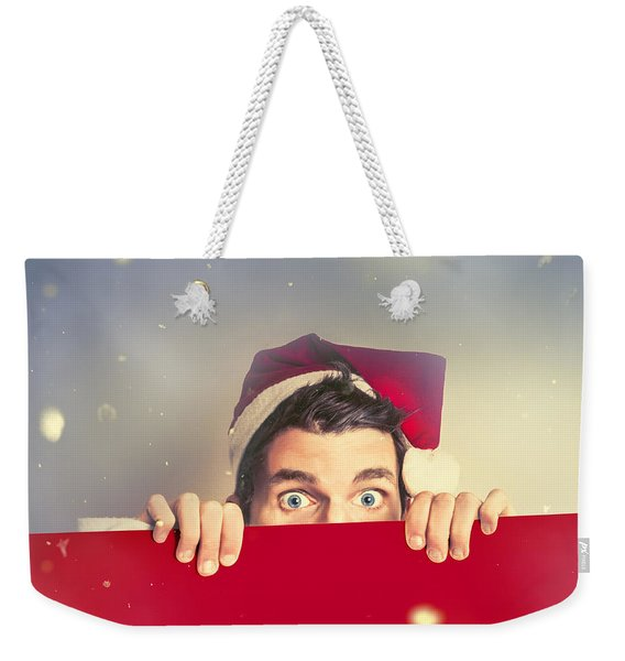 Surprised Santa Elf Holding Red Christmas Board Weekender Tote Bag