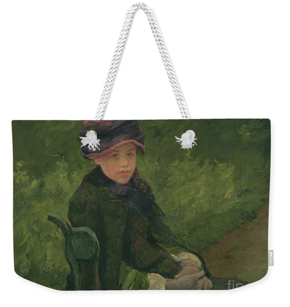 Susan Seated Outdoors Wearing A Purple Hat Weekender Tote Bag