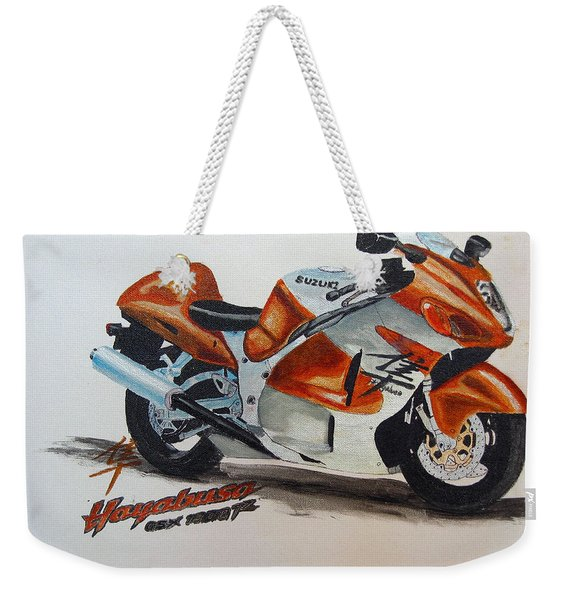 Weekender Tote Bag featuring the painting Suzuki Hayabusa by Richard Le Page