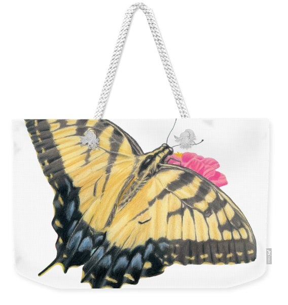 Swallowtail Butterfly And Zinnia- Transparent Backgroud Weekender Tote Bag