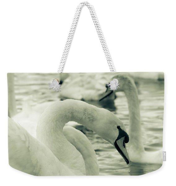 Swan In Water Weekender Tote Bag
