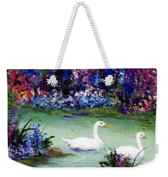 Weekender Tote Bag featuring the mixed media Swan Lake by Writermore Arts
