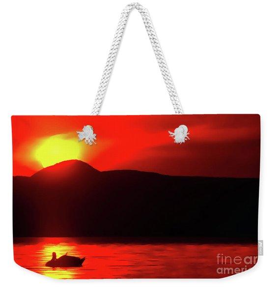 Swan Preen In The Sunset Weekender Tote Bag