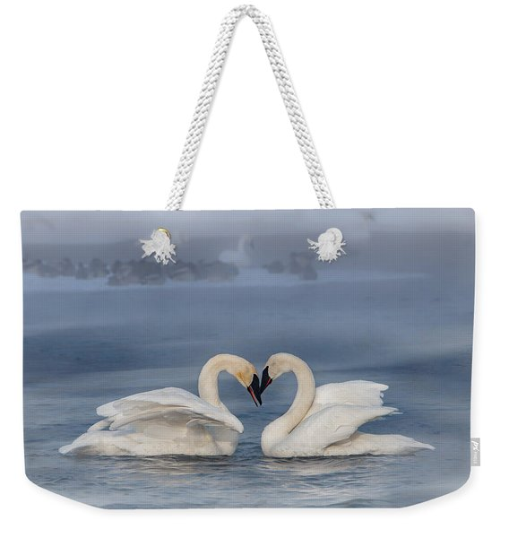 Weekender Tote Bag featuring the photograph Swan Valentine - Blue by Patti Deters