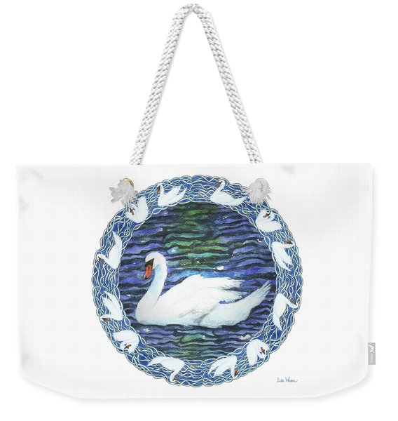 Swan With Knotted Border Weekender Tote Bag