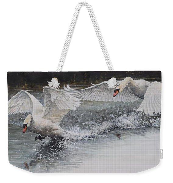 Weekender Tote Bag featuring the painting Swans In Dispute by Alan M Hunt