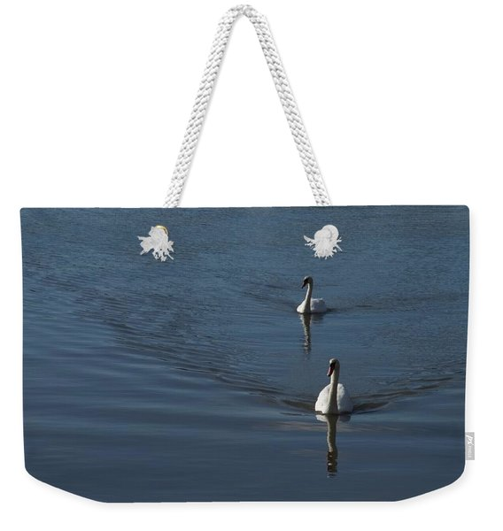 Swans On Deep Blue Weekender Tote Bag