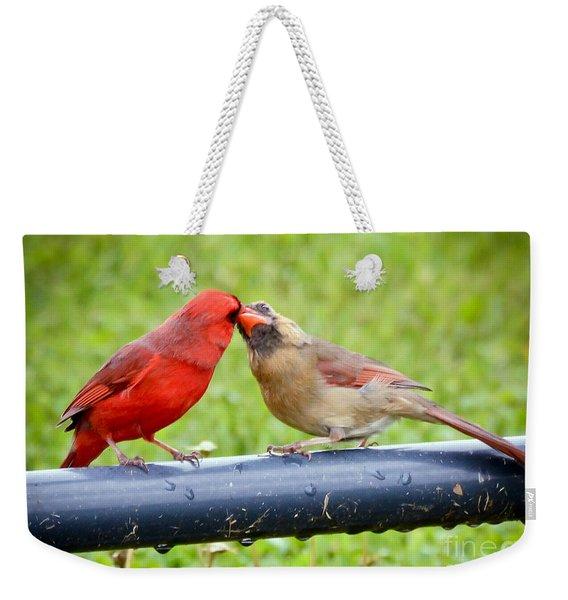 Sweet Cardinal Couple Weekender Tote Bag